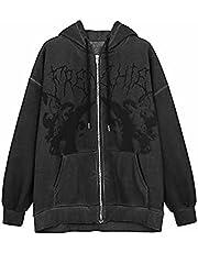 Vrouwen Y2K Portret Print Hoodie Crop Tops Lange Mouw Oversized Rits Vest Sweatshirt Punk Goth Streetwear met Pocket, Zwart, M