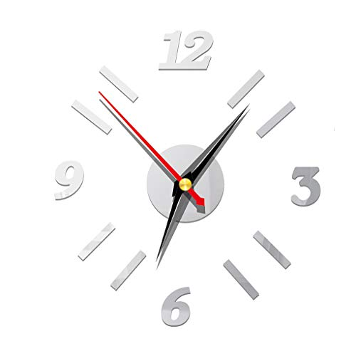 3D DIY Silent Non-Ticking Round Wall Clock Removable,Wall Clock Decor Sticker Mirror Frameless,Wall Clock Watches Home Living Room Bedroom Office Decoration Self-Adhesive Wall Decor(Argent)