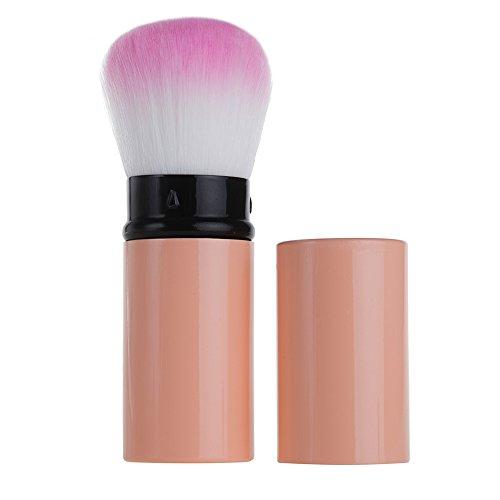 Retractable Kabuki Foundation Brush by Aguder Best for Mineral Makeup, Bronzer, Blush, Liquid or Powder. Vegan. Blend and Contour for a Flawless Face!