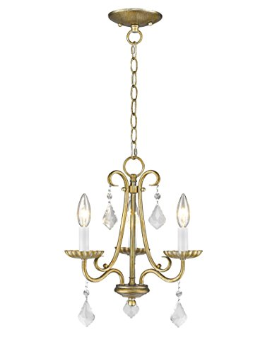 Livex Lighting 40873-48 Daphne 3 Light AGL Mini Chandelier, Antique Gold Leaf