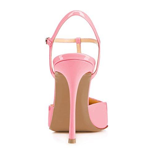 Fsj Vrouwen T Band Sandalen Hoge Hakken Pumps Gesloten Teen Stilettos Gesp Party Schoenen Maat 4-15 Us Pink