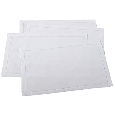 Handmade Basic Hemstitch Traycloth Place Mats, Set of 4 (White) - MATERIAL --- High quality, exquisite and soft, made of 55% linen and 45% cotton, a healthier and more comfortable choice for your home. DESIGN --- The item sports a simple rectangular with hemstitch boarder details for subtle flair, also with its solid hue, this placemat plays a perfect supporting role in any tablescape display. MULTI-PURPOSE UTILIZATION ---- The classic placemat is ideal for daily use, restaurant, housewarming, birthday party, banquet and more. Also able to make an upscale touch of texture, hammered silverware, modern crystal glassware. - placemats, kitchen-dining-room-table-linens, kitchen-dining-room - 312kEELuZXL. SS400  -