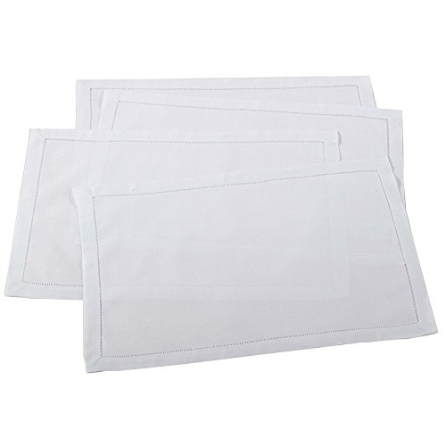 Handmade Basic Hemstitch Traycloth Place Mats, Set of 4 (White)