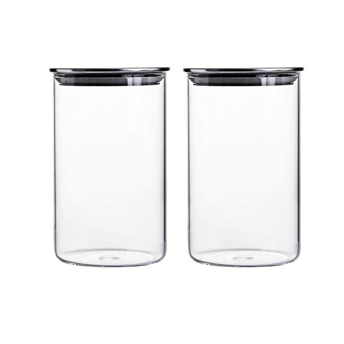 - 35 Ounce Clear Glass Canisters/Jars For Food Storage with Airtight Stainless Steel Lids, 4.15