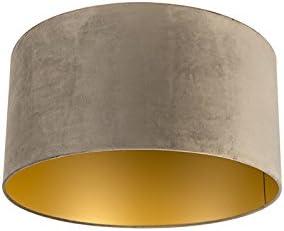 QAZQA Algodón Pantalla terciopelo visón 50/50/25 interior dorado, Redonda/ Cilíndrica Pantalla lámpara colgante,Pantalla lámpara de pie: Amazon.es: Iluminación
