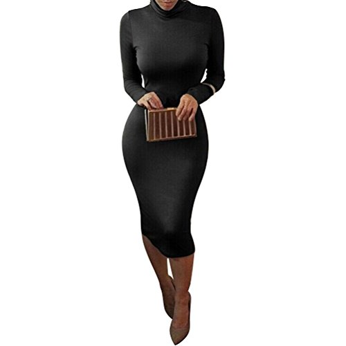 Laiyuan Women Turtleneck Long Sleeve Slim Bodycon Wrap Tunic Pencil Midi Dress S Black