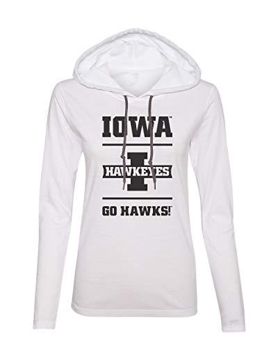 - CornBorn Iowa Tee Shirt - Women's Long Sleeve Hooded Iowa Hawkeyes - Go Hawks - White - Large