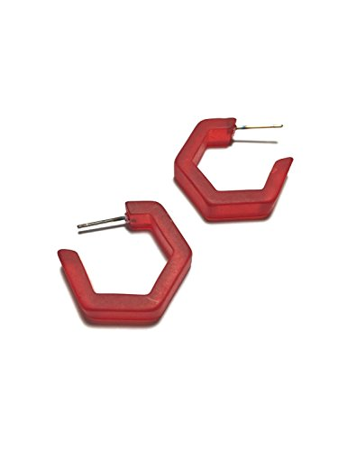Cherry Red Honeycomb Hex Hoop Earrings | Frosted Vintage Lucite Hoops