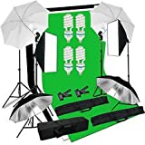 GTAPhotoStudio 1200w Video/Photo Continuous Light Kit - Includes Chromakey Studio Background Screen (Green Black White), (3) Muslin BackDrops, Umbrella, Softbox, Lighting Diffuser Reflector (LM01)