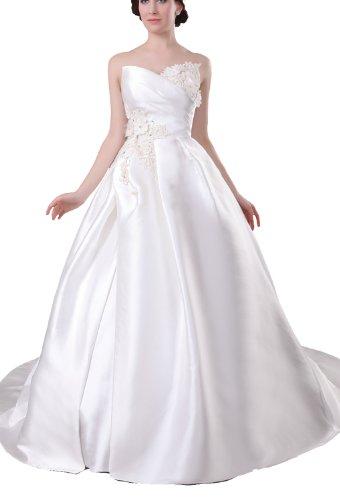 Albizia Women's Plain Sweetheart A-line Chapel Train Wedding Dres by ALBIZIA
