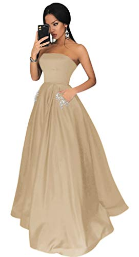 - Yangprom Charming Strapless Long Satin Ball Gown Prom Dresses with Pockets (26W, Champagne)