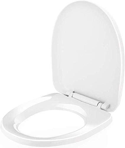 CXMWYトイレのふた スローソフトクローズ、調節可能な蝶番、抗菌、白を固定底部と便座 (サイズ : U-shaped)