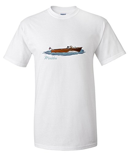 Malibu  California   Chriscraft Boat   Icon  White T Shirt Large