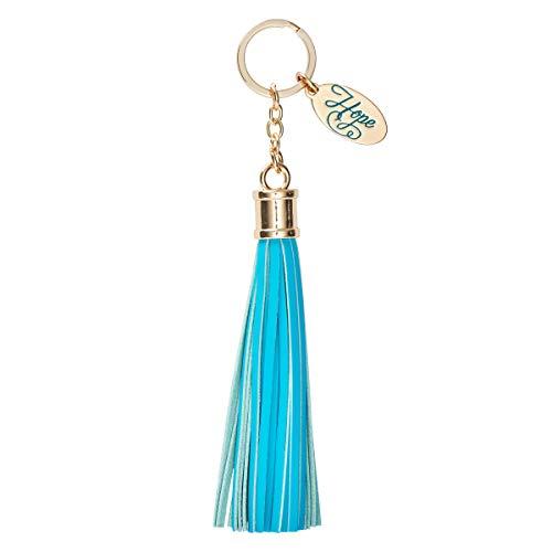 Hope Leather Tassel Charm Keychain Keyring for Women's Handbag Purse Keys Wallet Accessories in Teal