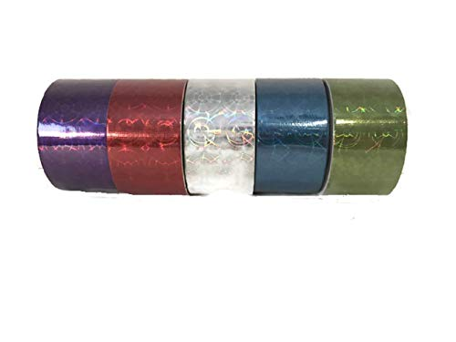 - Holographic Metallic Reflective Style Duct Tapes, 5-roll Set