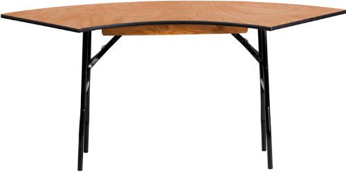 Flash Furniture 5.5 ft. x 2 ft. Serpentine Wood Folding Banquet Table 0.5' End Outlet