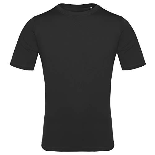 EAGEGOF Men's Tech Short Sleeve T-Shirt Dri-Fit Performance Athletic Tee Black 2XL