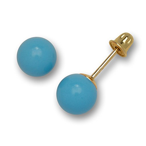 Yellow Gold Simulated Created Blue Turquoise Ball Stud Screw-back Earrings (5 sizes) (5mm) ()