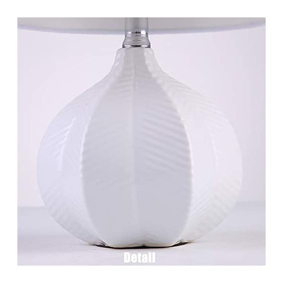"SOTTAE Modern Style Small Ceramic Milk Color Unique Desgin Bedside Table Lamp, Cute Desk Lamp with White Fabric Shade for Livingroom Bedroom - Small cute size: Diameter: 7.09"", Height:13.2"", Attention: please clearly the size when you look through our product. Input: AC 110V - 120V. Lamp Can be used with LED, CFL, Incandescent Medium base bulbs(Bulbs are not included). Elegant design: Modern style, simple and chic ceramic lamp body with white fabric lampshade. - lamps, bedroom-decor, bedroom - 312kN0AZvuL. SS570  -"
