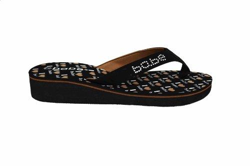 Brud Kvinners Tilfeldig Forskjønnet Flip Flops 1 Lave Kile Sandaler Med Søt Hjerte Trykt Såle (2208) Brun