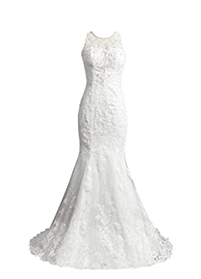 Tidetell 2016 Lace Mermaid Wedding Dress Beaded Plus Size Bridal Gown