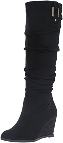 Dr. Scholl's Shoes Women's Poe Slouch Boot, Black Microsuede, 8 M US