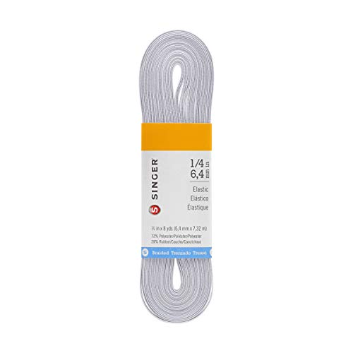 SINGER 70032 Braided Elastic, 8 Yard by 1/4-Inch, White