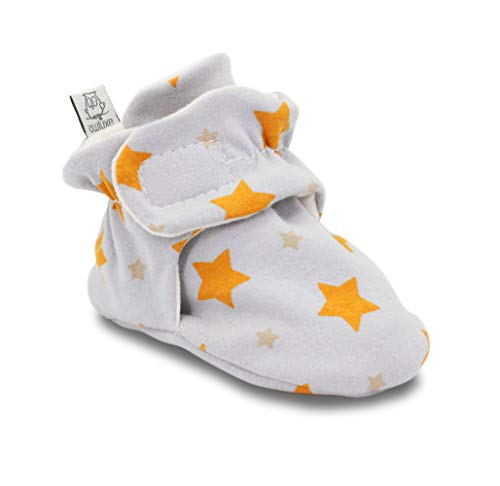 (Owluxe Organic Cotton Baby Booties Crib Shoes with Kick Proof, Newborn, 3-6 Months, Star Pattern, Yellow, Unisex)