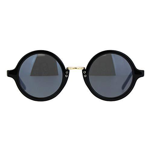 Victorian Metal Bridge Round Circle Lens Plastic Frame Sunglasses Shiny Black Black