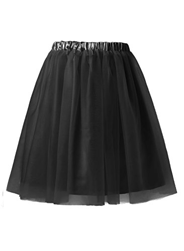 Emondora Women's Short Tulle Tutu Petticoat Ballet Retro Pleated Dance Skirts Black Size XXXL (Masked Ball Outfit)
