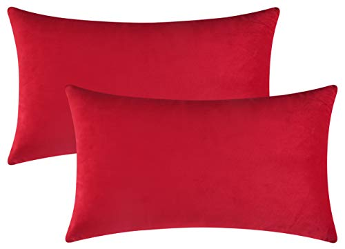 Mixhug Set of 2 Cozy Velvet Rectangle Decorative Throw Pillow Covers for Couch and Bed, Red, 12 x 20 Inches