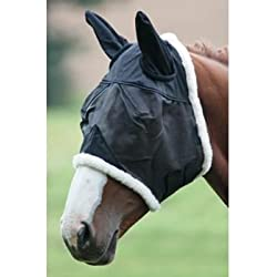 Shires Field Durable Fly Mask - Ears - Size:Small Pony Color:Black