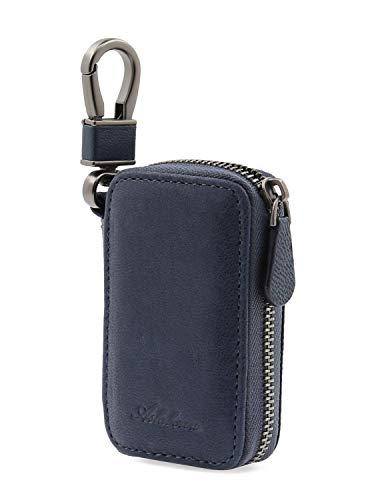 [해외]AslabCrew 정품 가죽 자동차 스마트 키 케이스 원격 키 홀더 / AslabCrew Car Key case Genuine Leather Car Smart Key Chain Keychain Holder Metal Hook and Keyring Zipper Bag for Remote Key Nappa-Navy