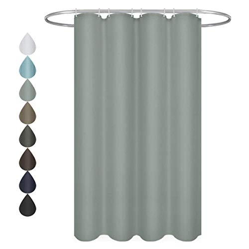 Eforgift Waterproof Bathroom Curtain Pure Grey Stall Shower Curtain 100% Polyester Fabric with Reinforced Metal Grommets, Narrow 54-inch x 78-inch
