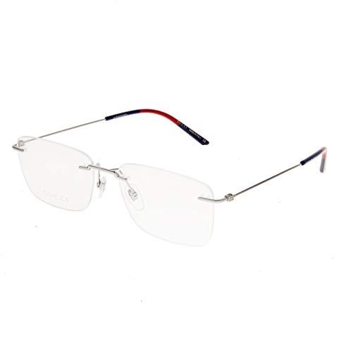 GUCCI 0399 Ruthenium Rimless Square Metal Eyeglasses 56mm GG0399O