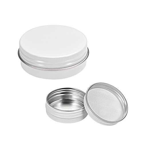 uxcell 1 oz Round Aluminum Cans Tin Screw Top Metal Lid Containers White 30ml 6pcs ()