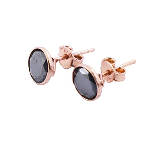 1 Cts Certified Rose Cut Black Diamond Studs in Rose Gold - Bezel Setting - AAA Quality by skyjewels