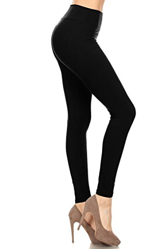 Leggings Mania Women's Solid Colored Leggings With Wide Yoga Waistband (Black Wide Waistband)