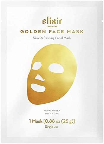 Elixir Cosmetics 24K Gold Korean Collagen Face Mask - Anti-Aging & Moisturizing Peel Off Facial Sheet Mask - 1 Pack