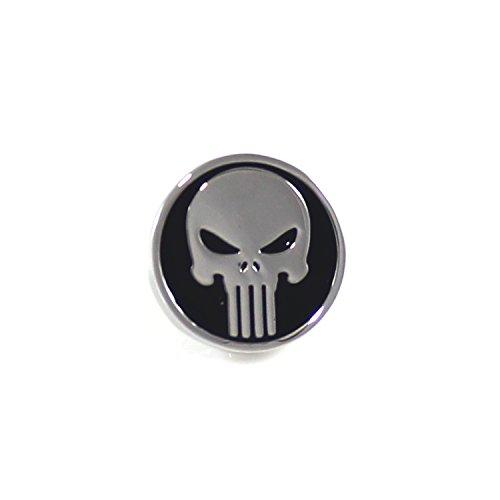 MENDEPOT Rhodium Plated Round Punisher Symbol Lapel Pin Comic Movie Theme Lapel Pin