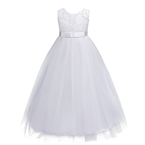 (Big Girls Tulle Lace Princess Bowknot Dress Flower Girl Wedding Communion Evening Birthday Party Dress White 9-10)