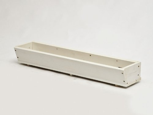 37.5 Inch Tapered Wood Flower Window Box w/ Cleat Mounting System-WhiteCLEARANCE (Planter Box Cedar White)