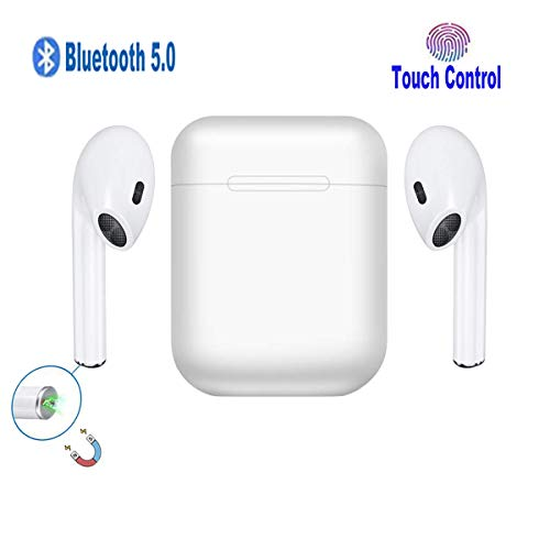 Bluetooth Headset Bluetooth5.0 Wireless Headphones Earbuds with Charging Case Pop-ups Auto Pairing Noise Cancelling Sweatproof Earphones