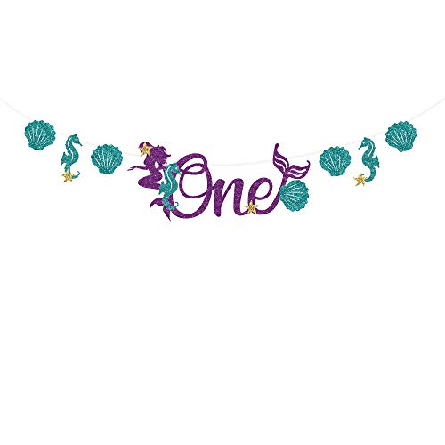 CC HOME Little Mermaid 1st Birthday Supplies,Under the Sea Happy Birthday Banner-Mermaid Sparkle Glitter Garland Bunting Sign for Baby,Girl,Baby Showers, Birthday Party Decoration Supplies]()