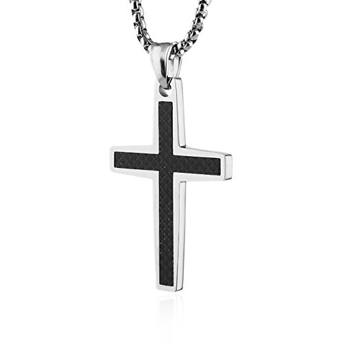 Unique Silver Inlay - HZMAN Unique Black Carbon Fiber Inlay Stainless Steel Cross Pendant Necklace 24 Inch Box Chain 2 Colors Gold Silve (Silver)