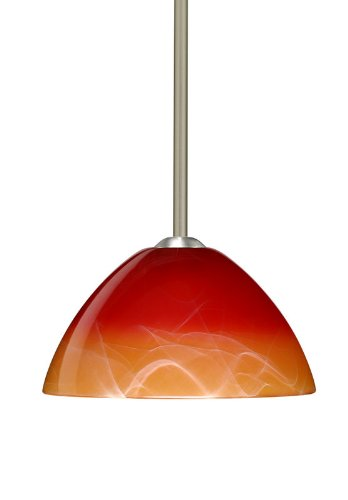 Besa Lighting 1TT-4201SL-LED-SN 1X6W GU24 Tessa LED Pendant with Solare Glass, Satin Nickel Finish