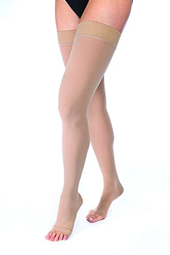 Med Right Toe Beige Leg (JOBST Relief 30-40 mmHg Compression Stockings, Thigh High with Silicone Band, Open Toe, Beige, Large)
