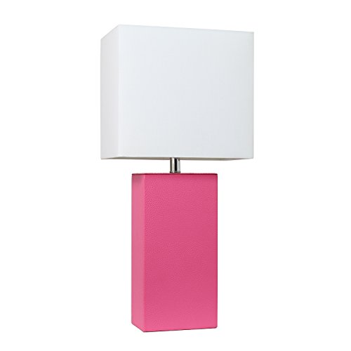 Elegant Designs LT1025-HPK Modern Leather Table Lamp with with White Fabric Shade, Hot ()