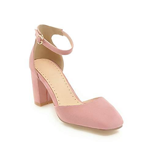 Heels Suede Summer de Pink Spring Mujer Chunky Heel Zapatos Black Comfort Pink Beige ZHZNVX amp; UpW1nF8S