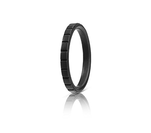 (ROQ Silicone Wedding Ring for Women, Single Thin Stackable Silicone Rubber Wedding Bands Lines - Black - Size 6)